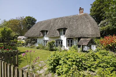 photograph of thatched cottage